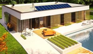 PROJEKT DOMU EX 7 (z wiatą)  : styl nowoczesne, w kategorii Domy zaprojektowany przez Pracownia Projektowa ARCHIPELAG