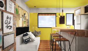 Loft do Músico: Salas de estar industriais por Andressa Cobucci Estúdio