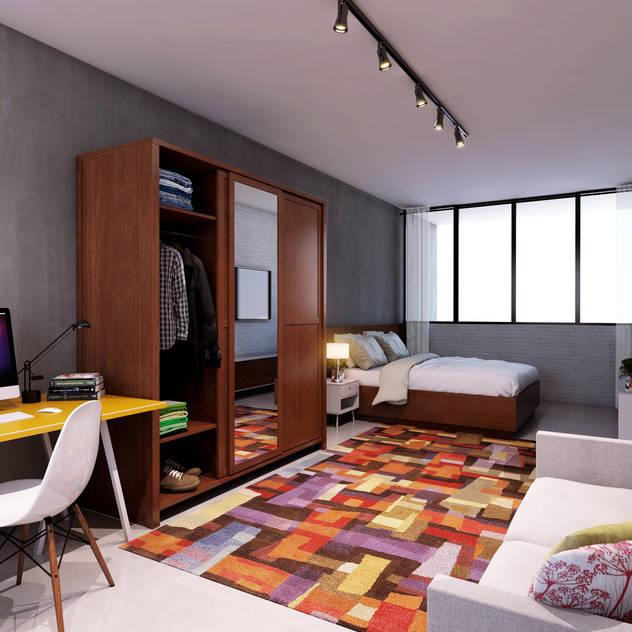 Lofts: Quartos translation missing: br.style.quartos.minimalista por canatelli arquitetura e design