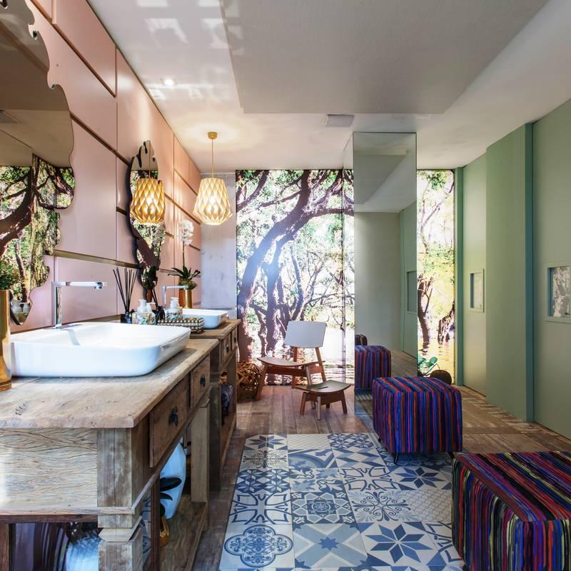 Baños de estilo translation missing: mx.style.baños.tropical por Orlane Santos Arquitetura