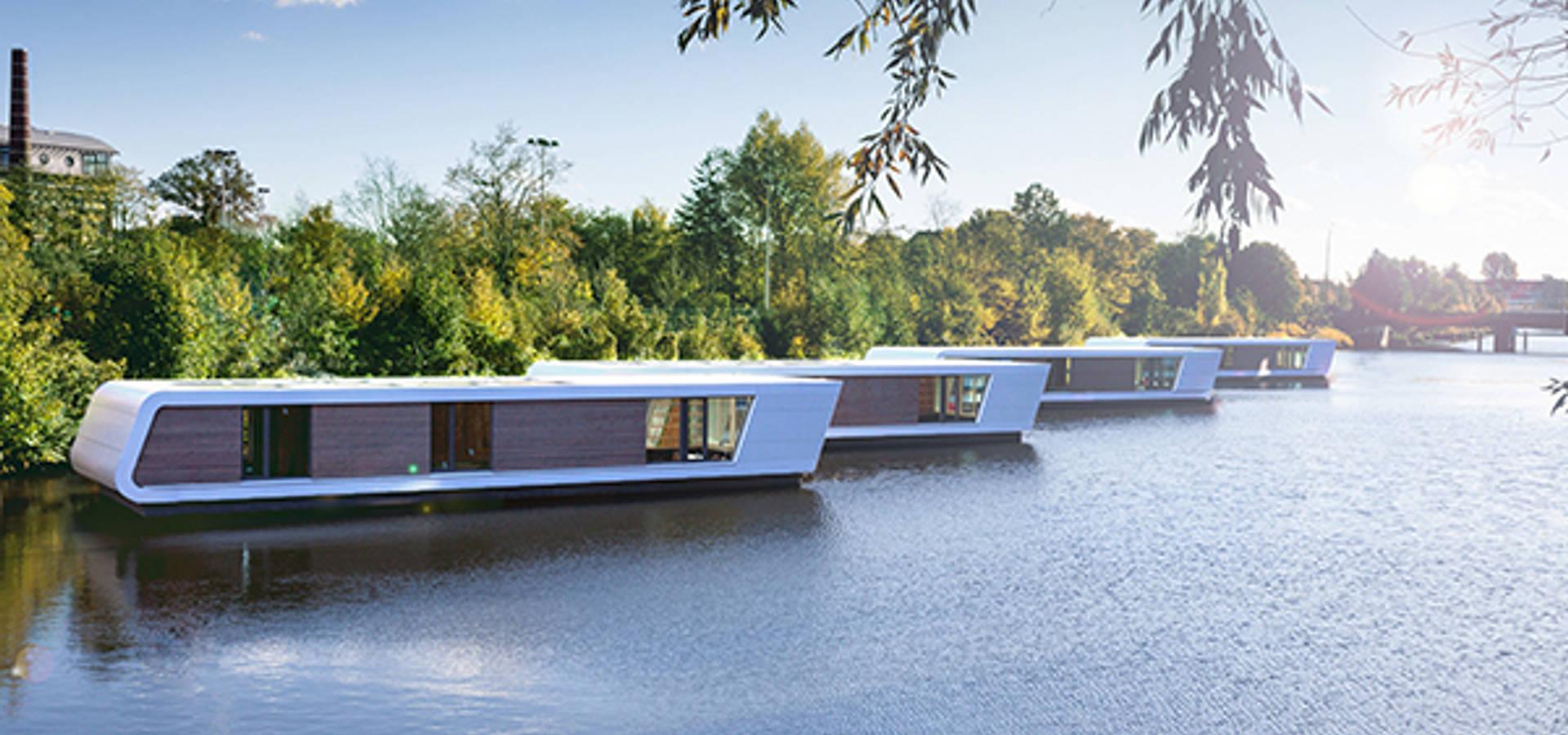 7 floating homes am victoriakai hamburg von floating homes homify. Black Bedroom Furniture Sets. Home Design Ideas