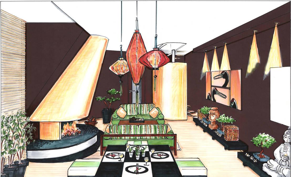 asiatisches wohnzimmer por innenarchitektin claudia. Black Bedroom Furniture Sets. Home Design Ideas