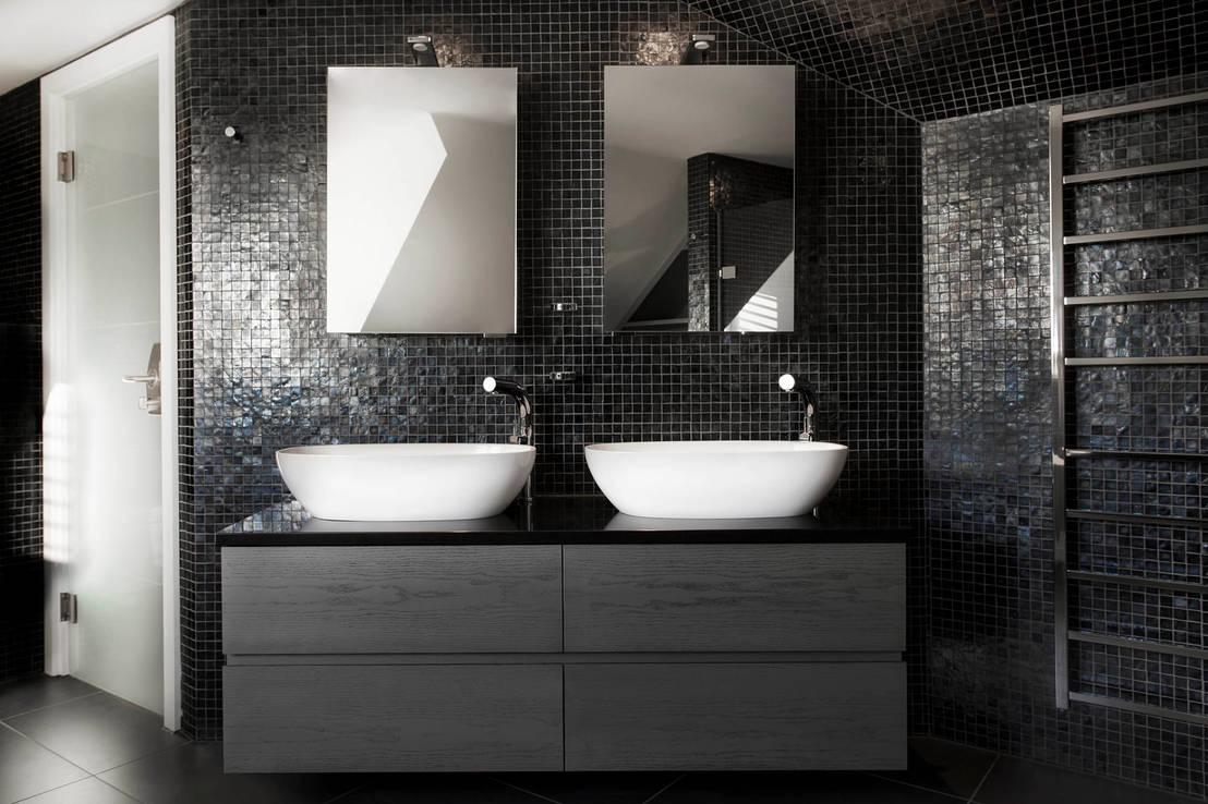 Piastrelle bagno marrone scuro bagno moderno con un rubinetto la