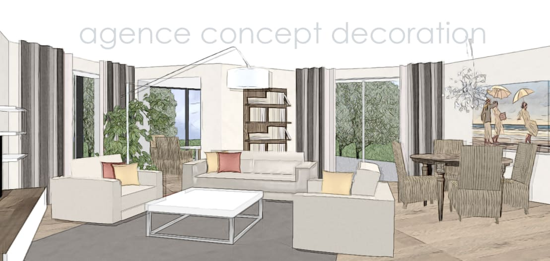 Redecorer salon et cuisine by agence concept decoration for Agence de decoration