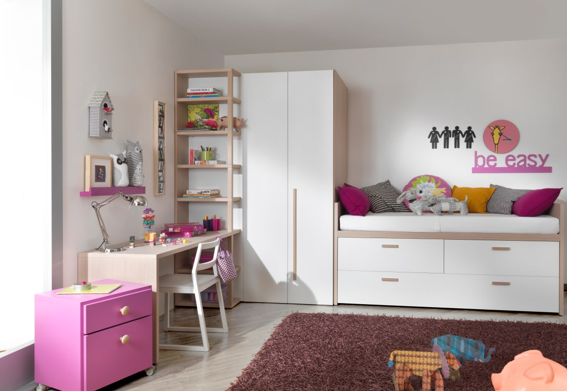 modernes m dchenzimmer mit viel stauraum von mobimio. Black Bedroom Furniture Sets. Home Design Ideas