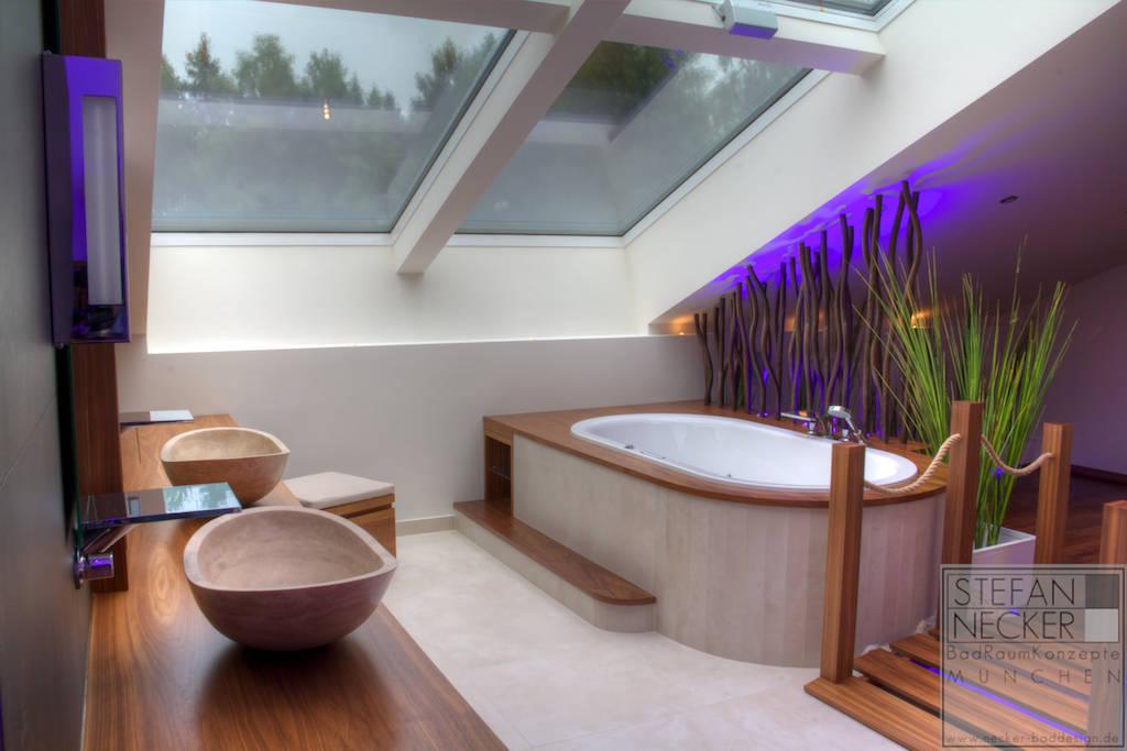 wellness badezimmer im dachgeschoss von stefan necker badraumkonzepte homify. Black Bedroom Furniture Sets. Home Design Ideas