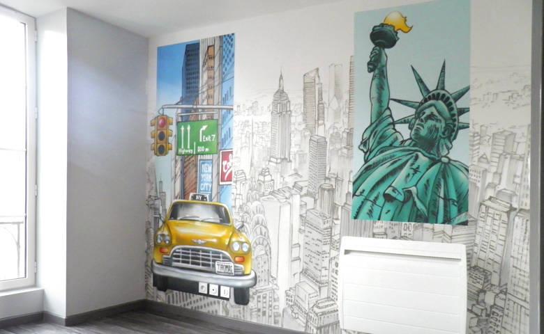 Ambiance new york pour chambre d 39 enfant par popek - Peinture chambre ado new york ...