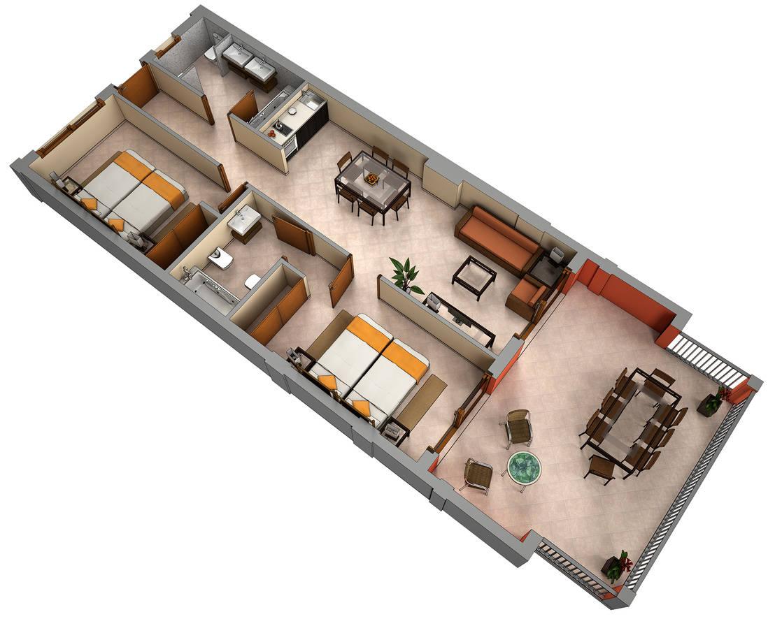 Planos de corte 3d de realistic design homify for Planos de casas pequenas de una planta
