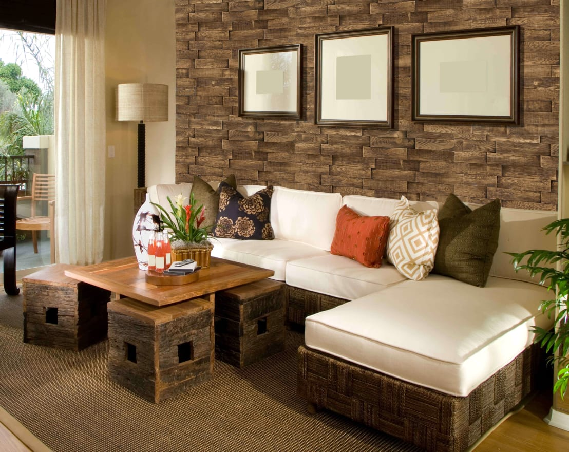 10 ideas para decorar tus paredes con el material m s for Decorar paredes living