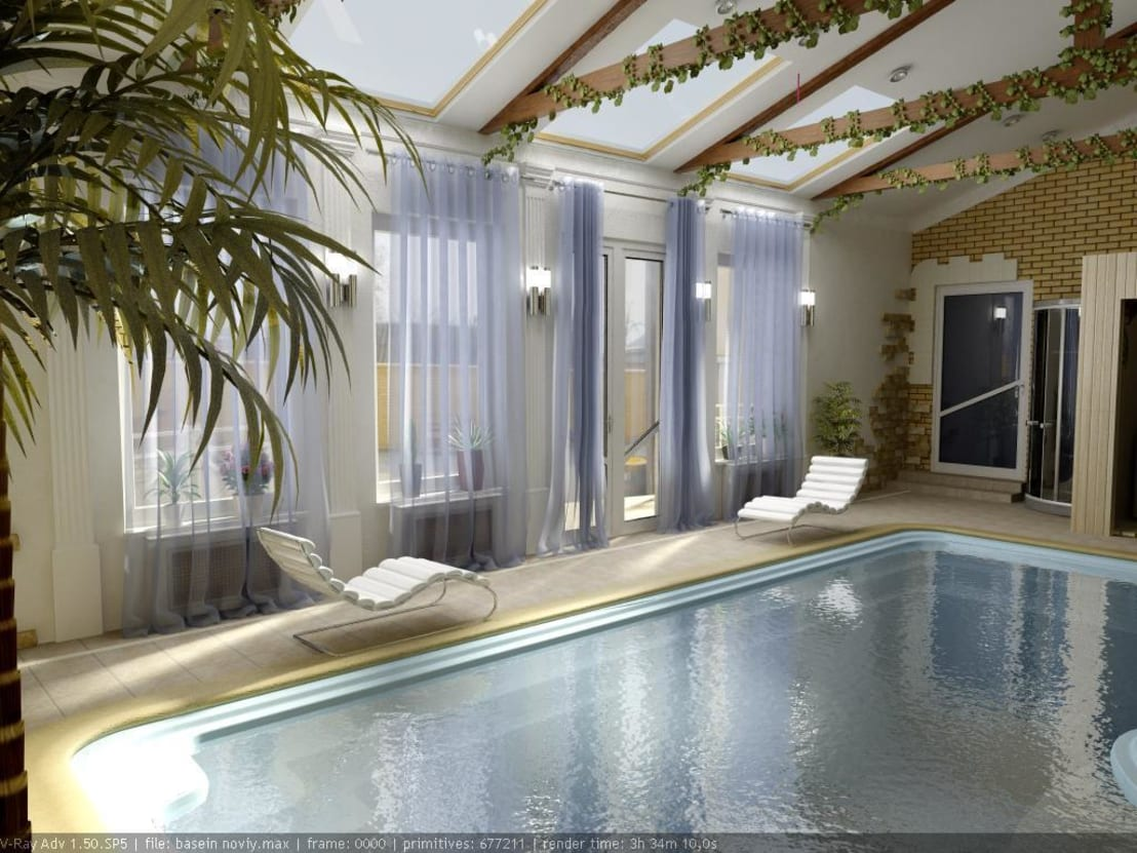Мебель для бассейна в частном доме фото