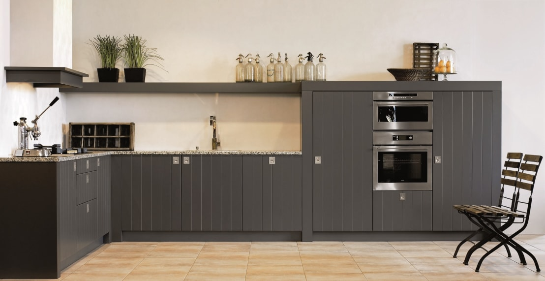 kh system m bel gmbh kh k che landhaus mausgrau mit rille homify. Black Bedroom Furniture Sets. Home Design Ideas
