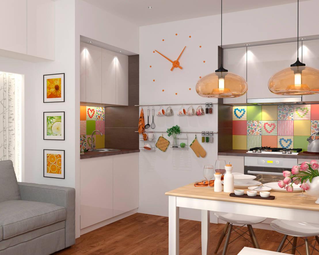 Дизайн кухни 7 кв. м. - современный интерьер.