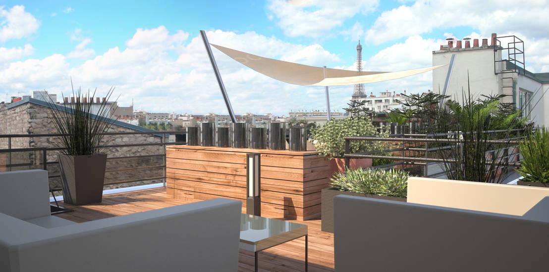 Am nagement d 39 un toit terrasse paris par rm architecte for Amenagement terrasse paris