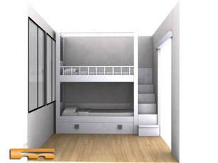 Litera a medida escalera lateral habitaci n infantil barcelona manel de - Escaleras para literas infantiles ...