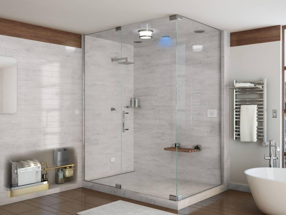 Steam showers with mr steam generators by nordic saunas for Steam shower bathroom ideas