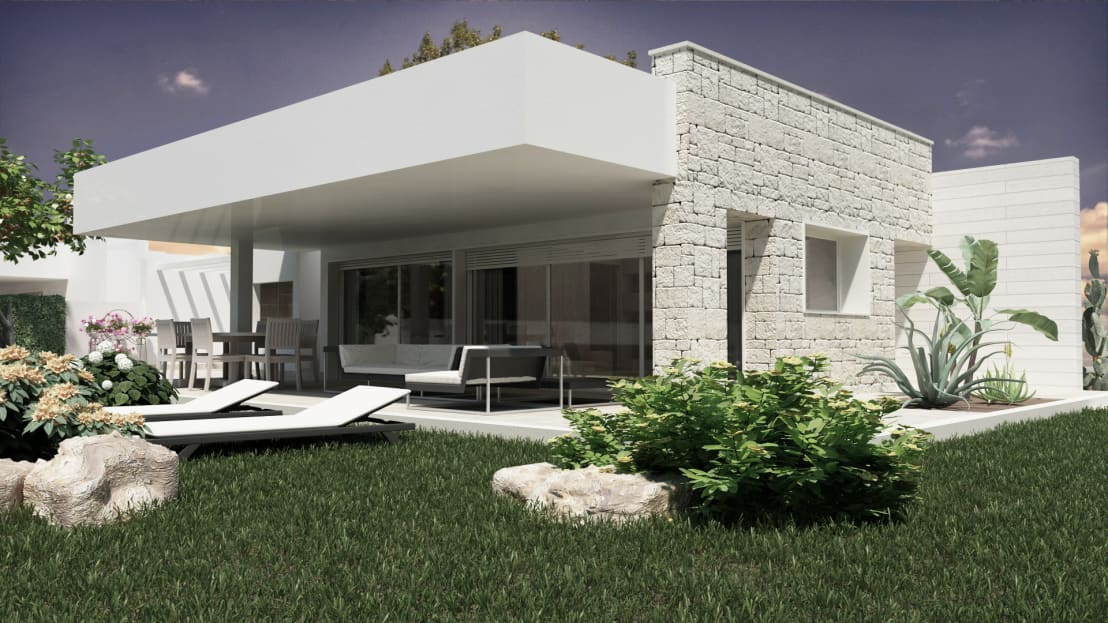 Stone glass house di de vivo home design homify for Design esterni case