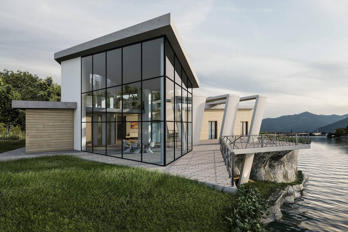 Casa sul lago di ab photo and graphics homify for Piani casa lago stile artigiano