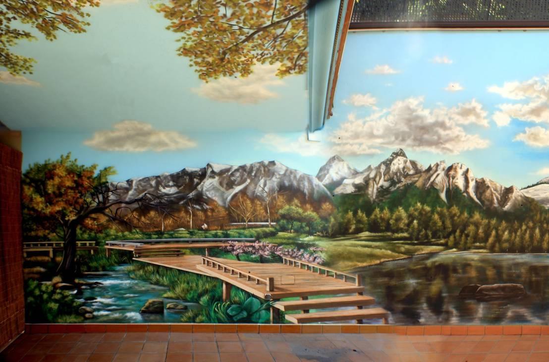 patios interiores de pintura mural barcelona homify