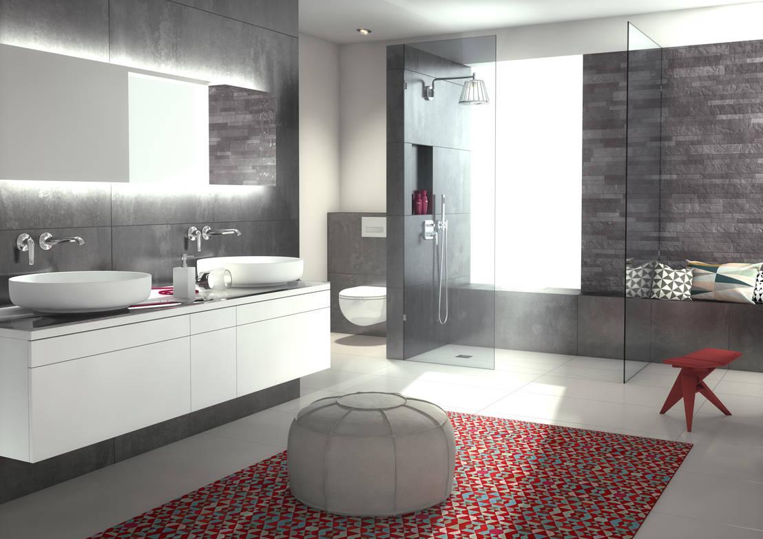 systeembadkamer met grote inloopdouche von wedi homify. Black Bedroom Furniture Sets. Home Design Ideas