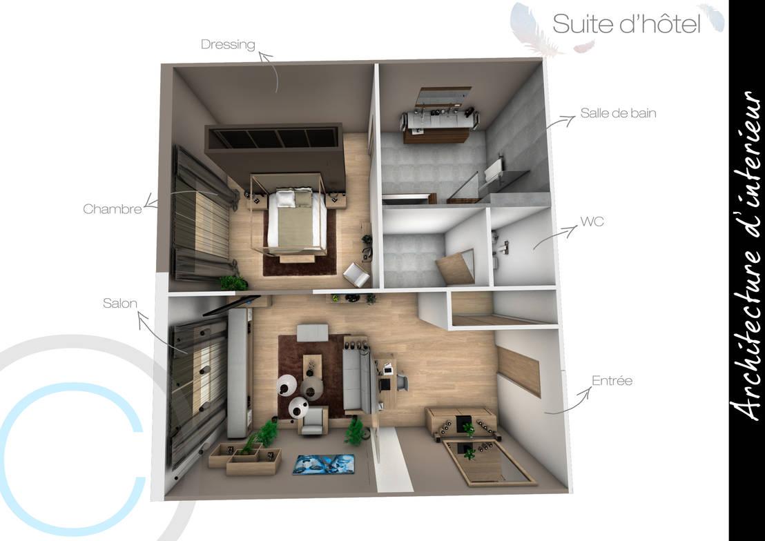 Architecture d\'intérieur - Chambre d\'hôtel von Crhome Design ...