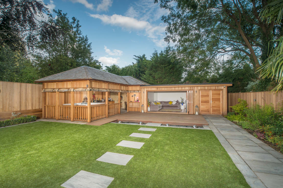 Bespoke Garden Building Complete With Spa And Kitchen By