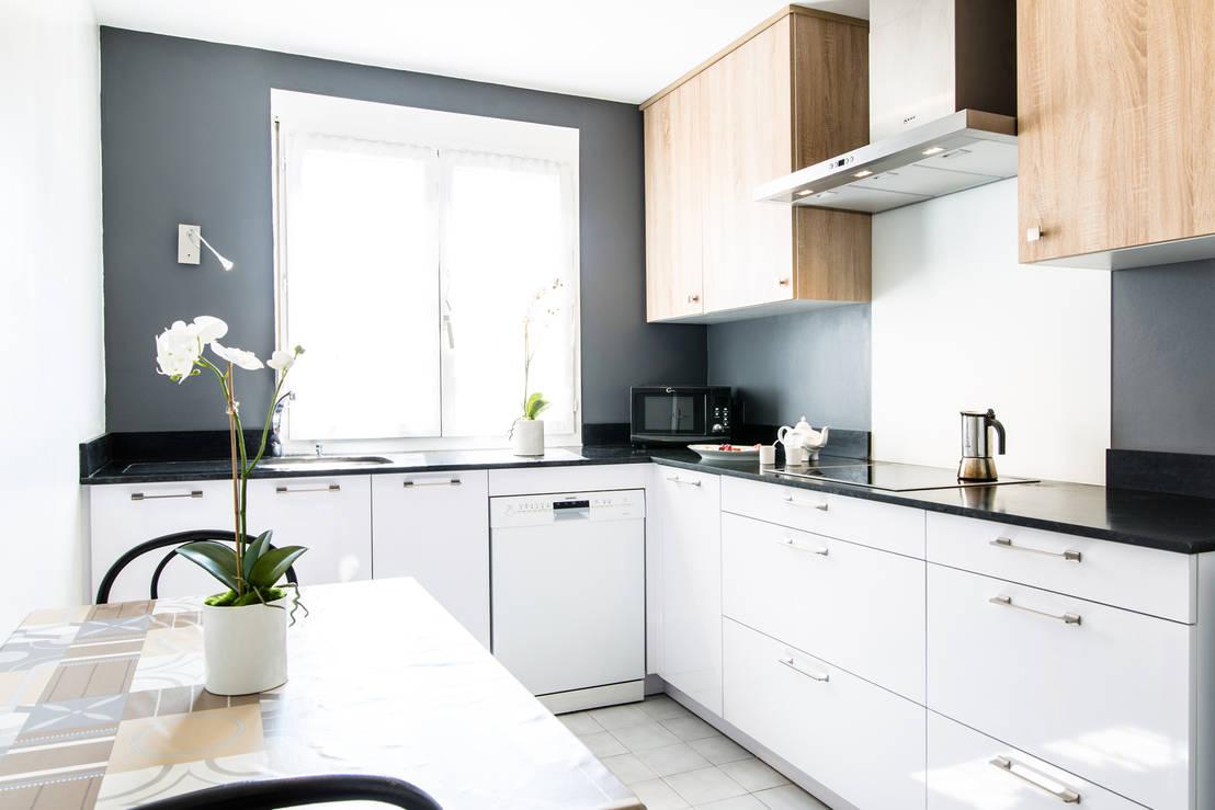 cuisine teissa modele mirage blanc neige et natura chene bordolino clair por mj home homify. Black Bedroom Furniture Sets. Home Design Ideas