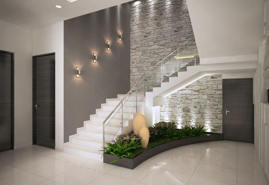 15 modern staircase ideas for your beautiful home for Plantas para escaleras interior