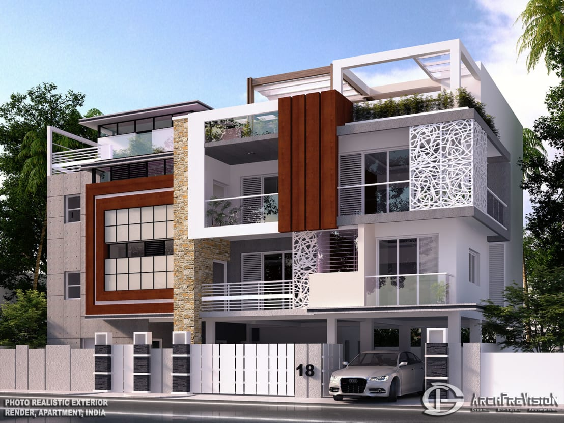Apartment exterior renders de 3darchprevision homify for Normal house design in indian