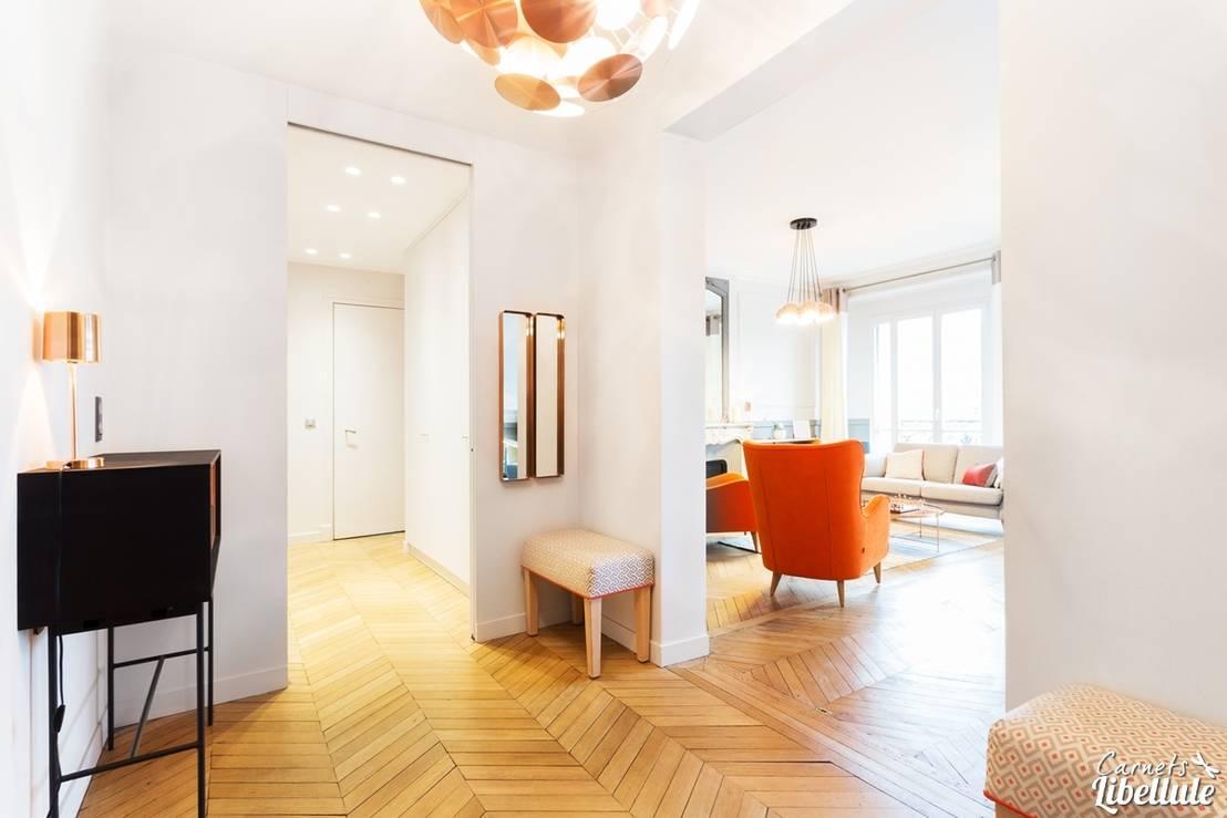 entr e et salon d 39 un appartement haussmannien par carnets libellule homify. Black Bedroom Furniture Sets. Home Design Ideas