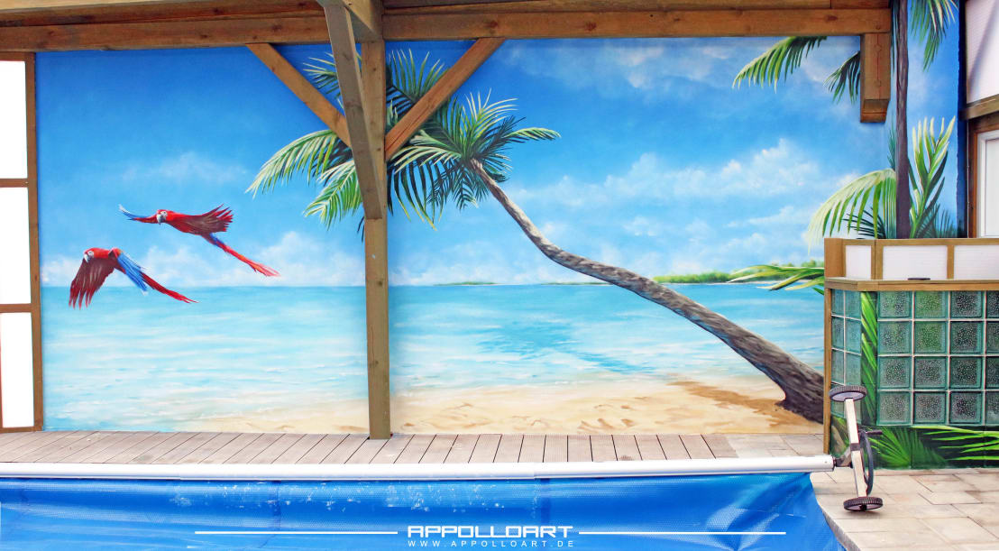 Schwimmbad Pool Wellnessbereich Karibik By Wandgestaltung Graffiti Airbrush  Von Appolloart | Homify