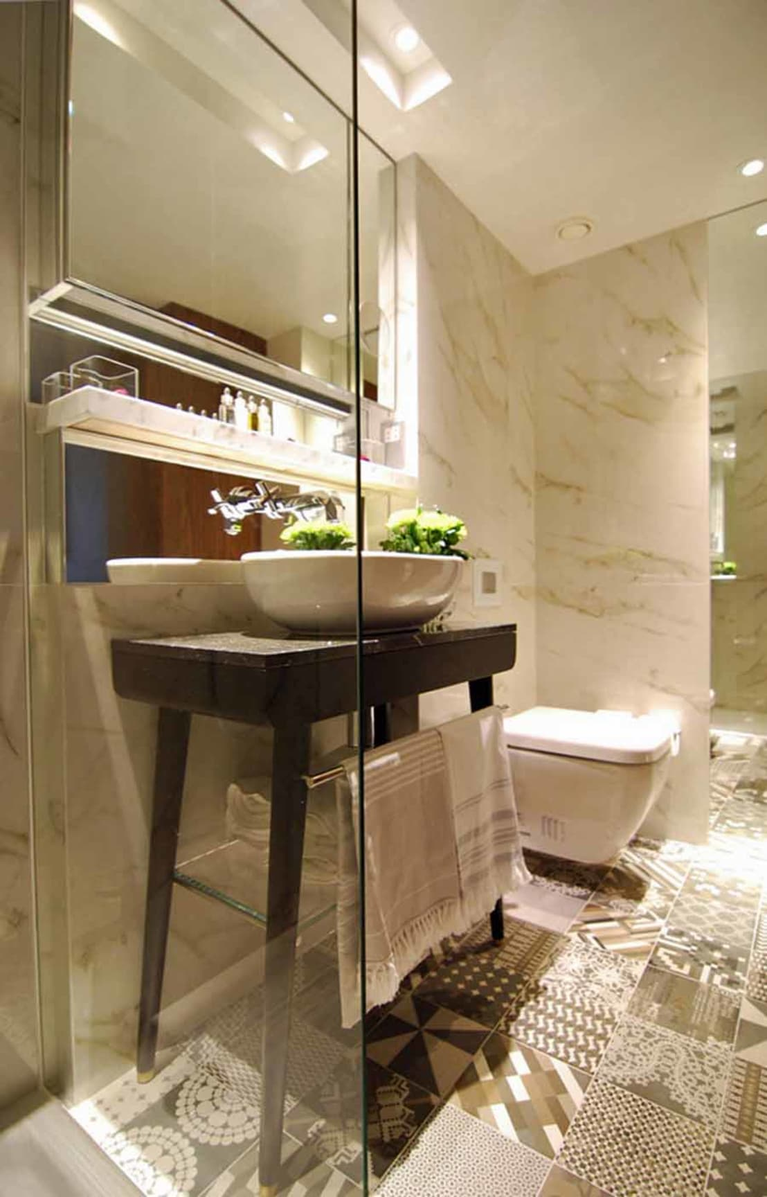 hotel bathroom design sherlock featuring porcel thin ferrara marble 12411
