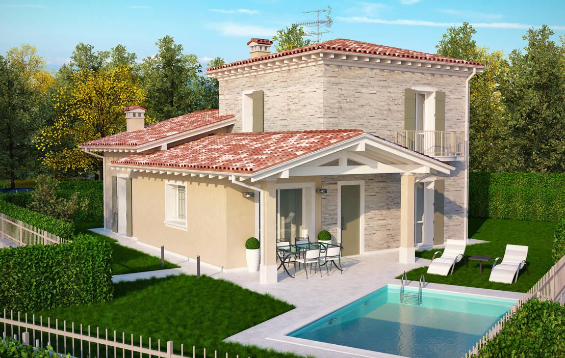 Rendering 3d villa bifamiliare di 2p costruzioni srl for Disegni di case toscane