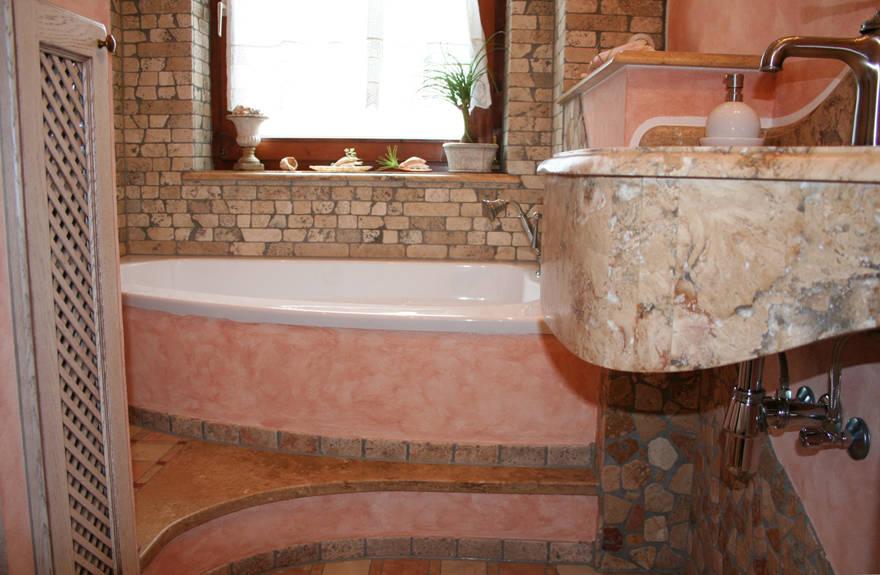 Villa Medici Aschheim villa medici mediterranes bad creme rosé by villa medici homify