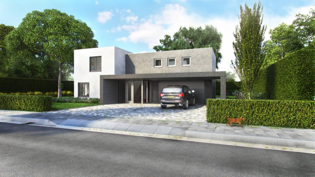 Moderne vrijstaande villa met overkapping door villa delphia homify - Foto moderne villa ...