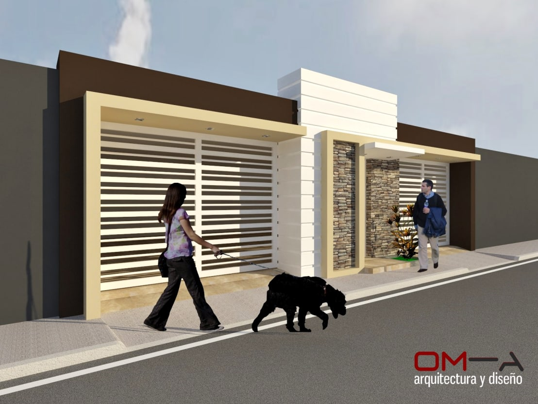 Dise o de fachada de vivienda pareada de om a arquitectura for Fachadas frontales de casas