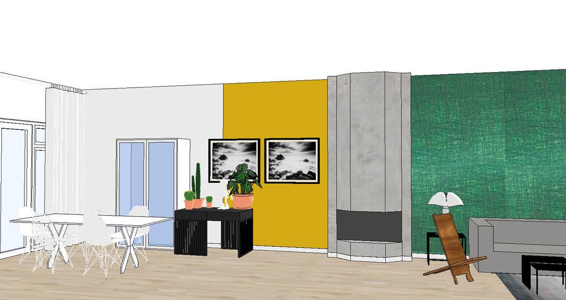 Styling woonkamer 2onder1kap woning Heemstede, industrieel met ...