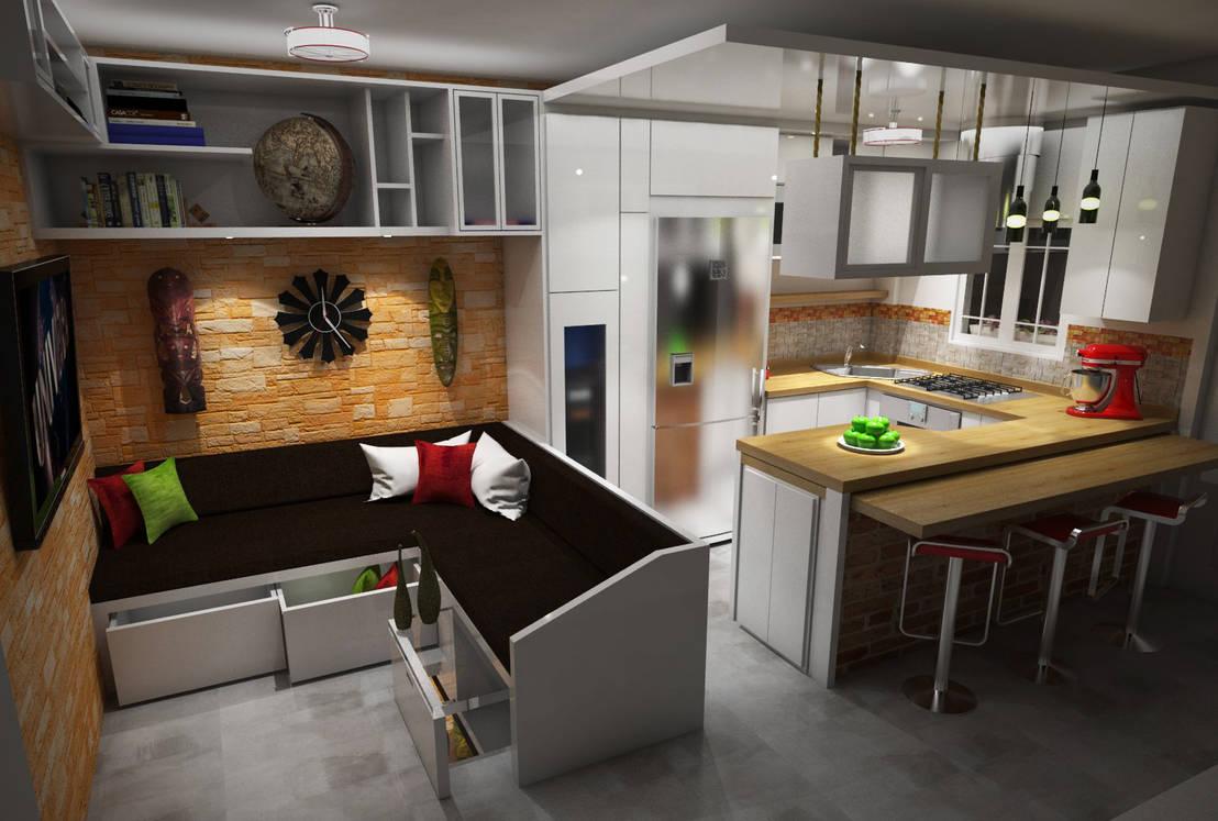 Dise o sala cocina comedor de rbritointeriorismo homify for Comedor de cocina esquinero