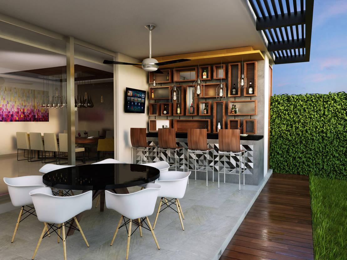 15 ideas que te van a inspirar a poner un minibar en tu patio for Jardineras iluminadas