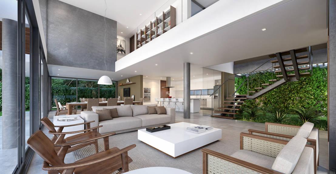 16 salas de doble altura modernas y espectaculares for Modelos de casa estilo minimalista