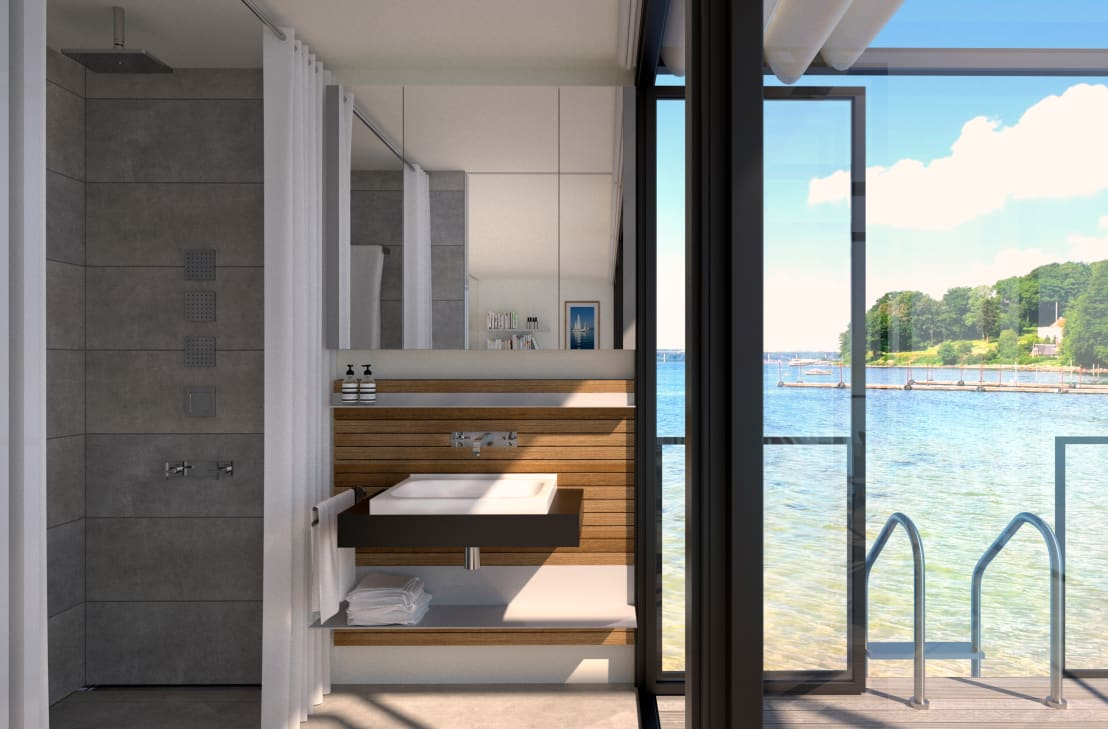 badezimmer mit regalsystem inpiano eiche wei von innenarchitektur ina nimmrichter homify. Black Bedroom Furniture Sets. Home Design Ideas
