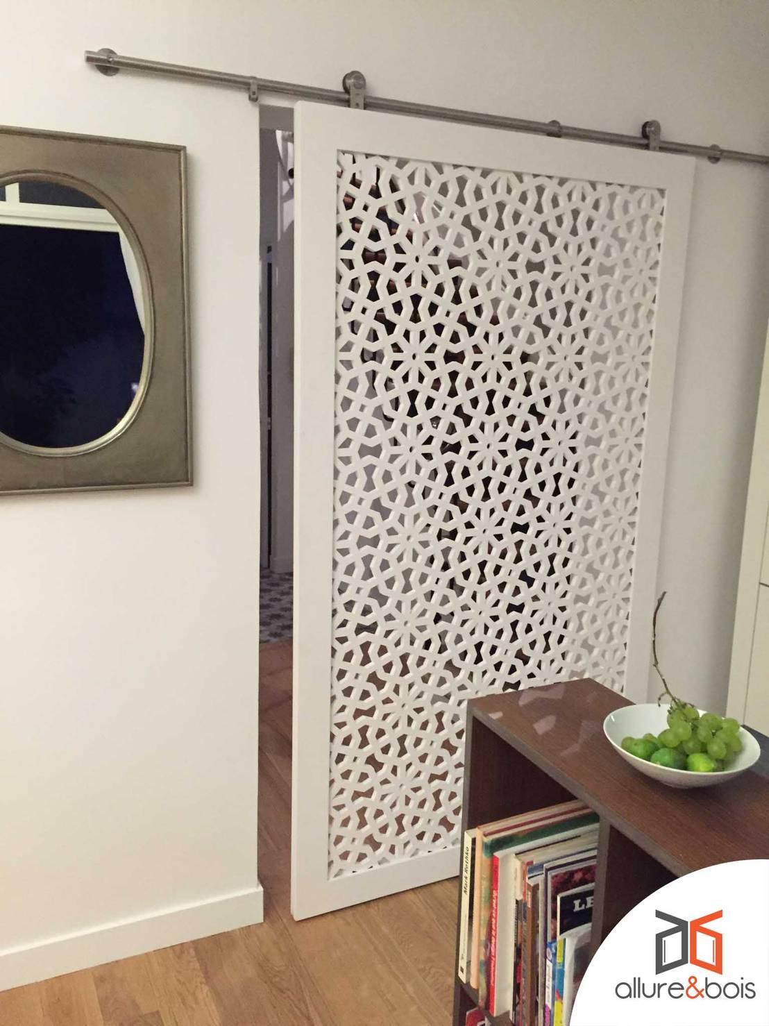 porte claustra coulissante avec rail apparent by allure et bois homify. Black Bedroom Furniture Sets. Home Design Ideas