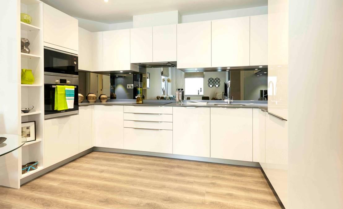 U shape cream ivory colours gloss kitchen design by - Schmidt kitchens ...