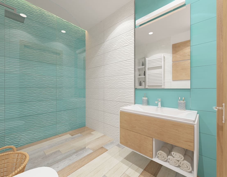 Turkusowa łazienka By Zawicka Id Projektowanie Wnętrz Homify