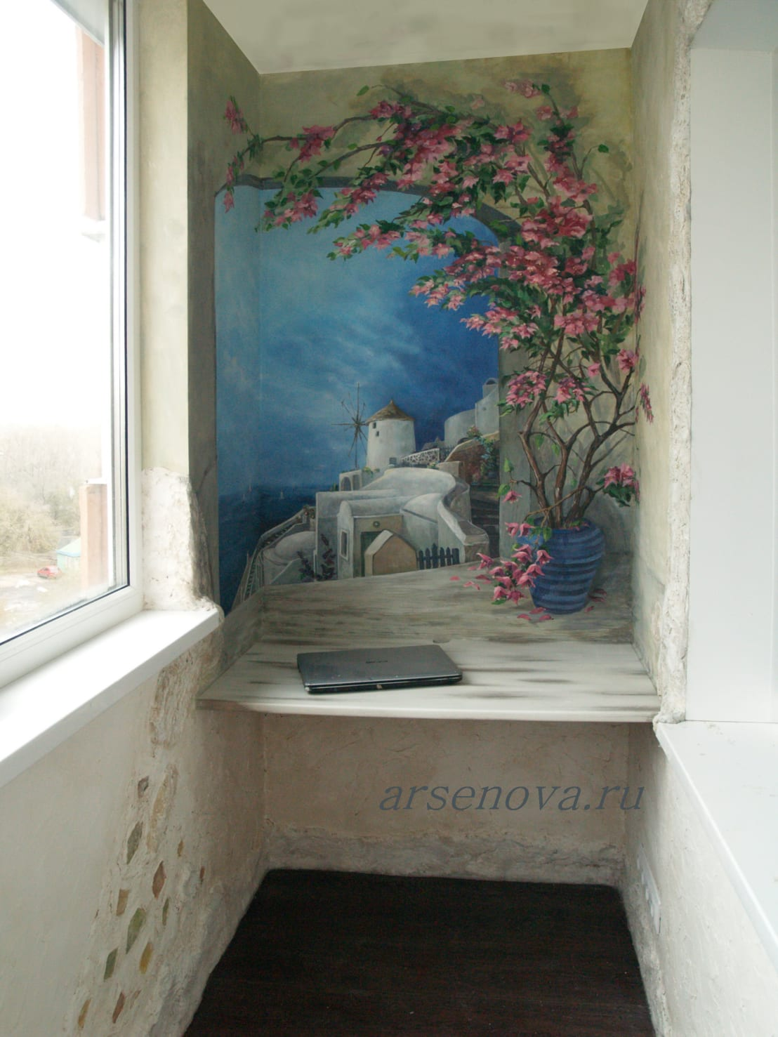 """Роспись стен лоджии """"санторини"""", искусственный камень, декор."""