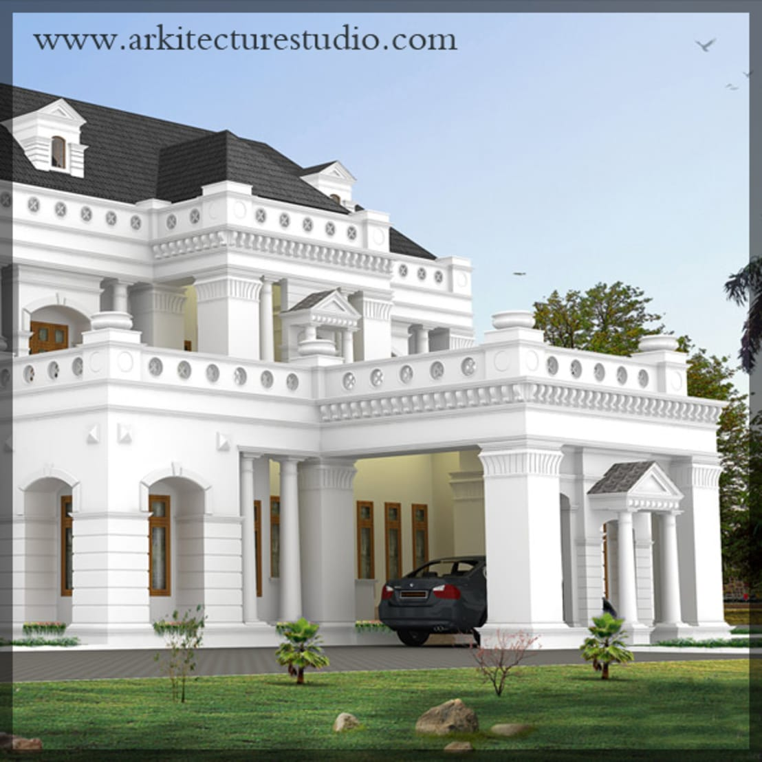 Colonial style luxury indian home design leading for Colonial style house plans kerala