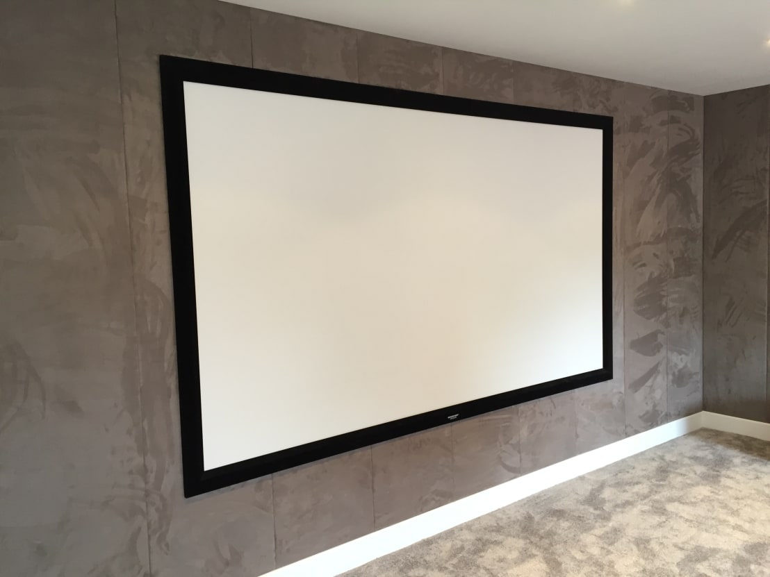 Designer vision and sound cinema room with bespoke suede for Sound proof wall padding