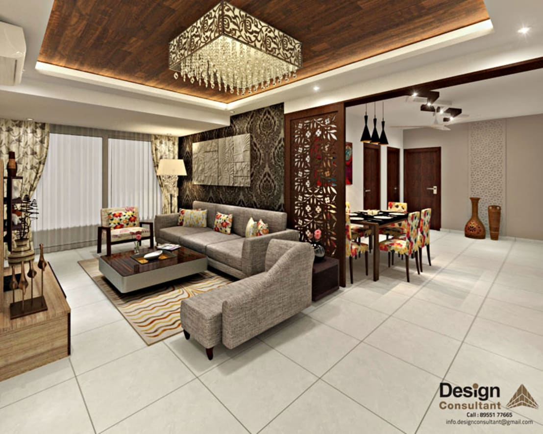 3bhk flat interior design and decorate at mangalam grand for Living area decoration