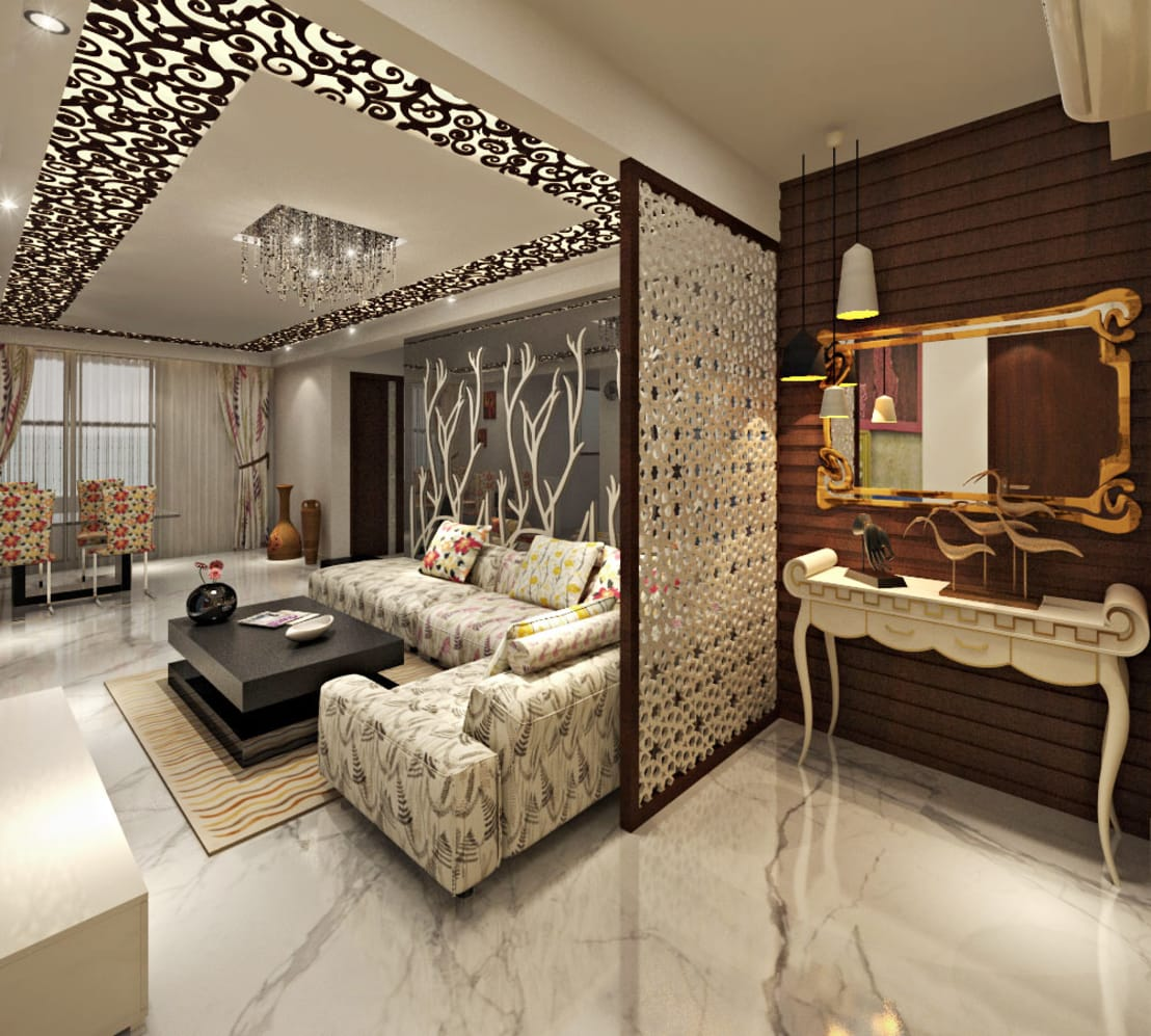 Living Room And Area Design Ideas: 3BHK Flat Interior Design And Decorate At Alwar By Design