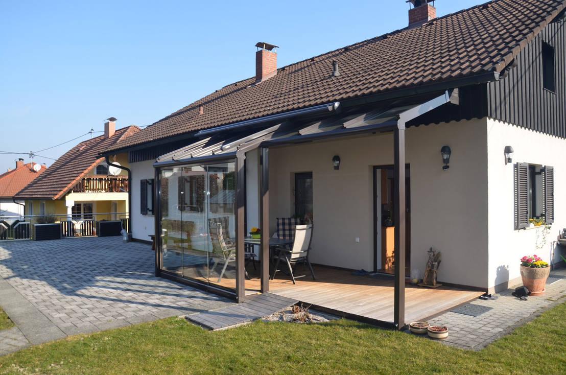 teilverglaste terrassen berdachung aus glas aluminium ganzglasschiebet ren por schmidinger. Black Bedroom Furniture Sets. Home Design Ideas
