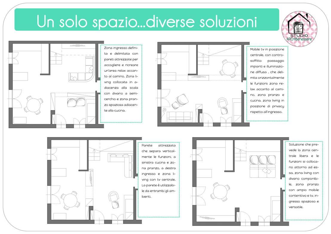 Mobile Tv Con Camino open space dai tanti volti! by studio archibenessere | homify